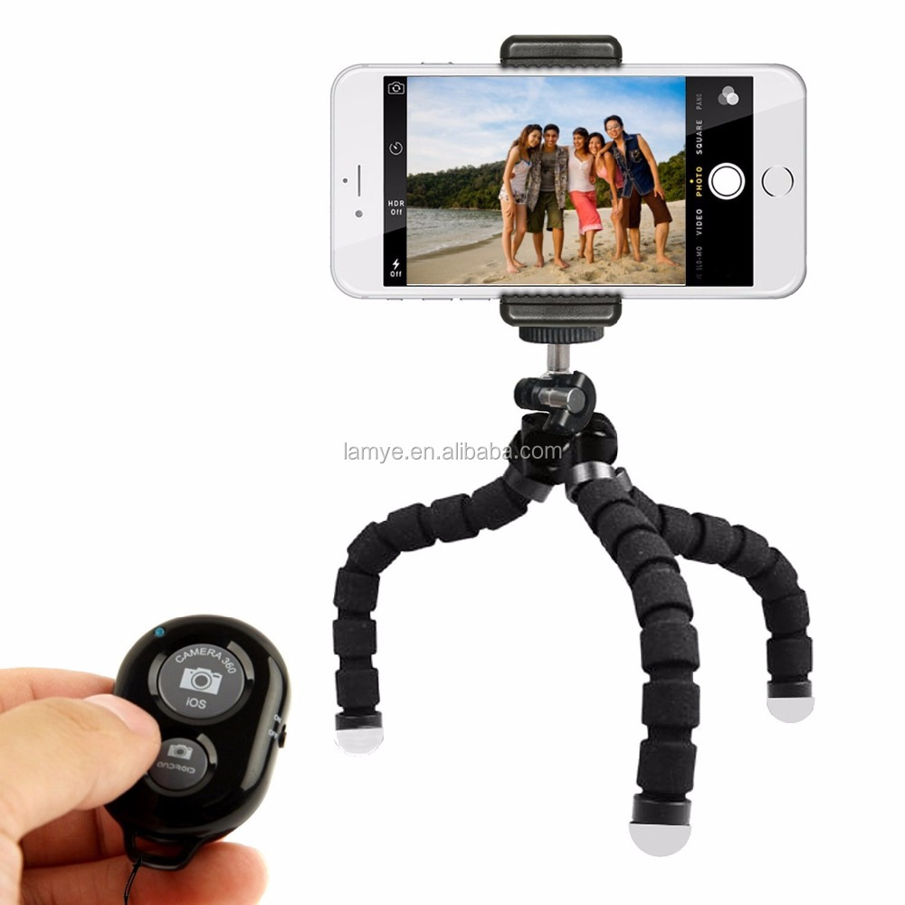 Tripod stand with bluetooth remote , Smart phone camera holder with adjustable tripod mount adapter
