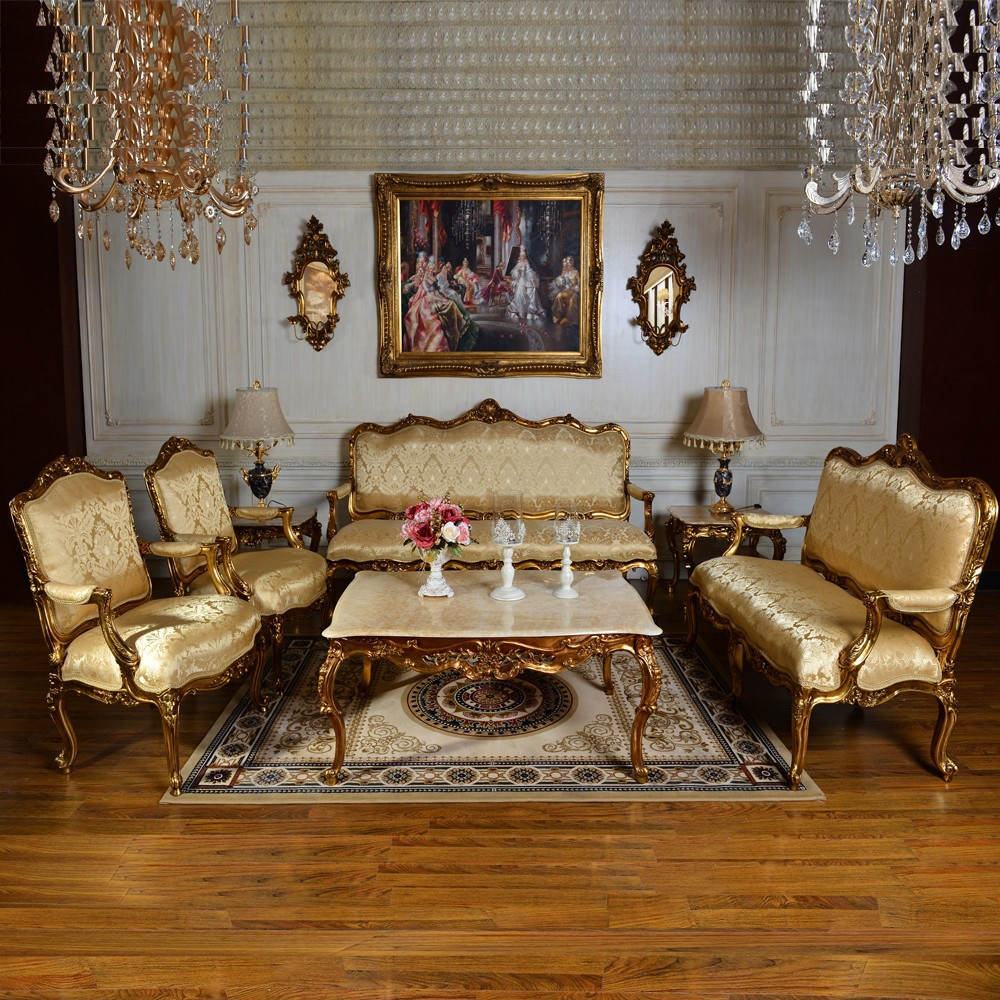 C59 antique gold classic bedroom and living room single for Living room single chairs