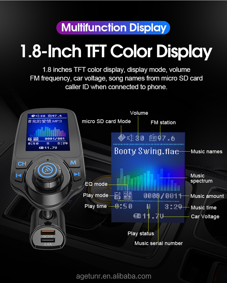 AGETUNR T10D bluetooth car fm transmitter micro SD card/U