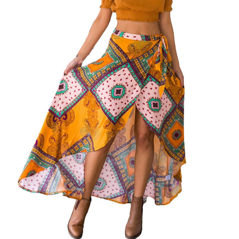 8d4d1d66f0 Get Quotations · Tonval Dovetail Skirts Womens Summer Maxi Long Vintage Bohemian  Style Beach Skirt Irregular Hem Retro Print