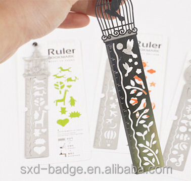 Creative Cartoon Ruler Brushed Metal Bookmark Blank Standard