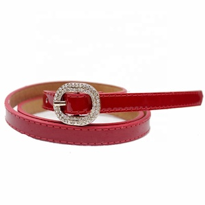 2019Trendy Candy Color Thin Waist Women Belt For Dresses Pants with Diamond Ring Buckle