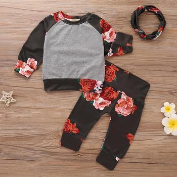 d058fd12363e4 3pcs Newborn Baby Girl 2018 Flower Long Sleeve Gray Tops Sweatershirt Shirt  Pants Leggings Headband Outfit Autumn Set Clothes - Buy New Fashion Cute ...