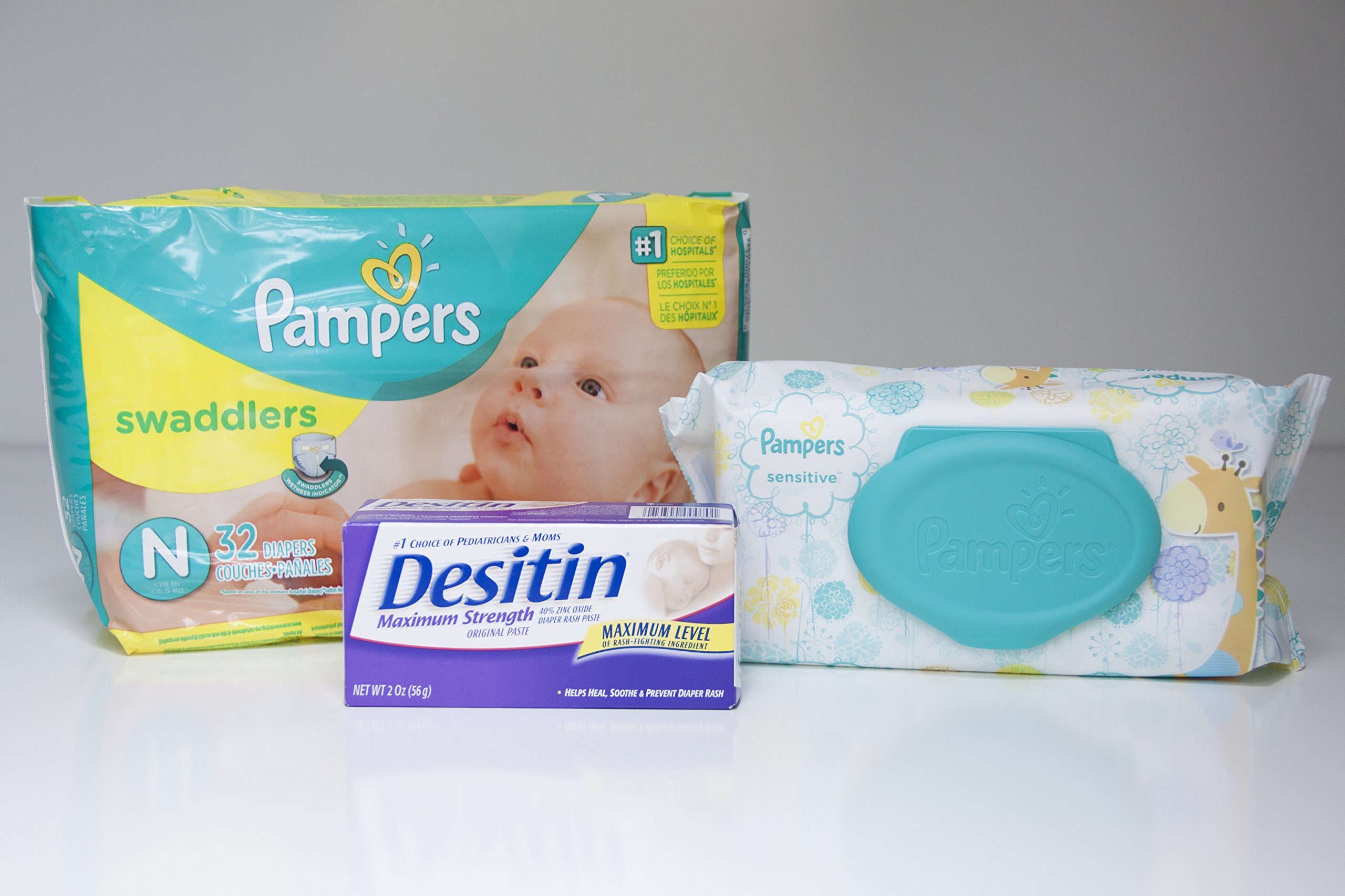 Diapering Bundle - Includes Pampers Swaddlers Size Newborn, Pampers Sensitive Wipes and Desitin Diaper Rash Cream – Perfect Diaper Changing Combo – Makes a Great Gift For a New Mother! Give It As a Gift At Your Next Baby Shower!