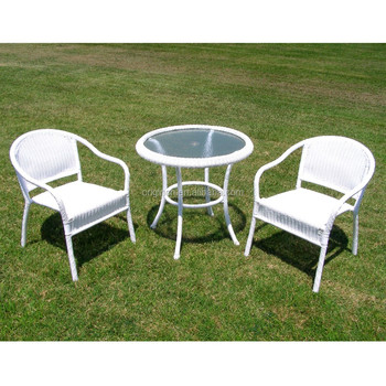 2 seater european style white wicker table and chair for Outdoor furniture europe
