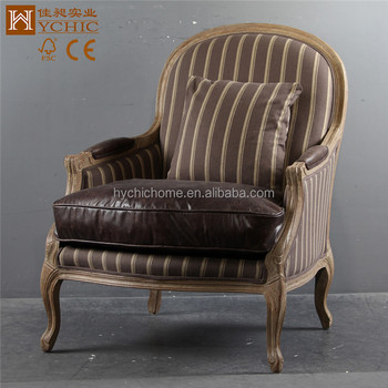 Vintage French Leisure Sofa Chair Striped Fabric Real Leather Living Room Chair