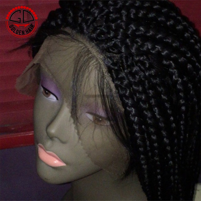2018 High Quality Cheap Price Synthetic Micro Box Braid Lace Front Wig For Black Women