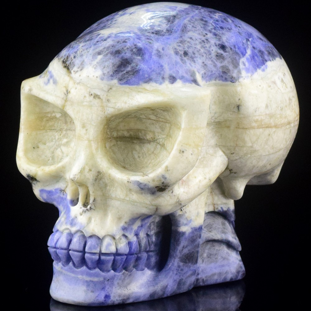 new arrive 5 inch carved sodalite stone Alice skull carving for christmas decoration