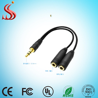 High Quality Y 3.5mm Audio Splitter Cable 2 Female to 1 Male Audio Cable