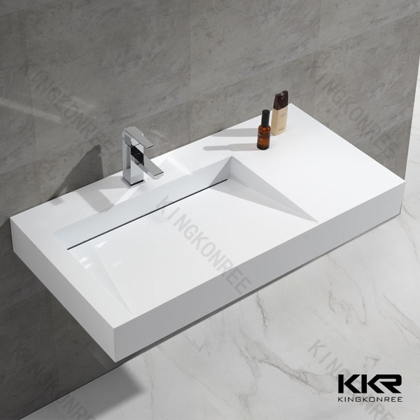 Modern Slope Drain Solid Surface Bathroom Vanity Sinks