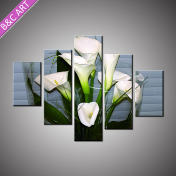 Vintage Home Decor White Lily Flowers Stretched Floral Oil Painting For Living Room