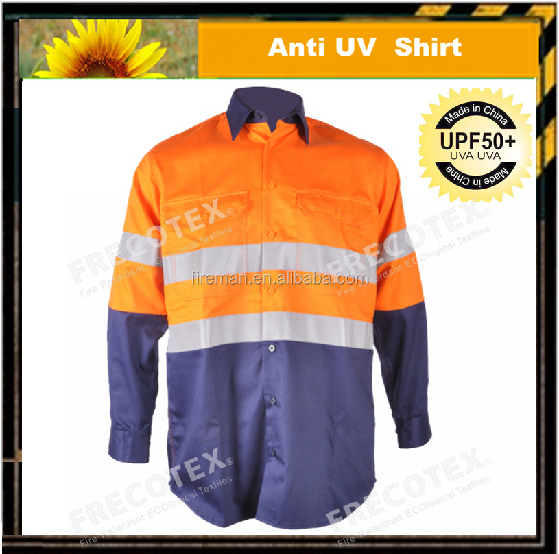 work shirt UPF 50+ uv sun protection fabric for protective clothing