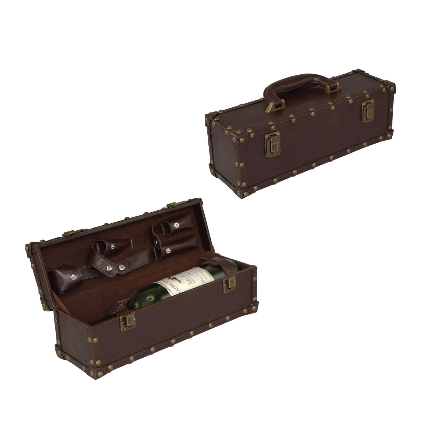 High-end wooden dual- bottle wine package box brown leather wine box