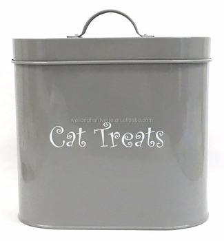 Oval Shape Metal Dog Dry Food Canister pet Treats Storage Container