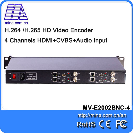 4 Channels HDMI and BNC 1080P H.264 H.265 Video Encoder Hardware To Ip Audio Iptv Streaming Server With Ts Over Ip