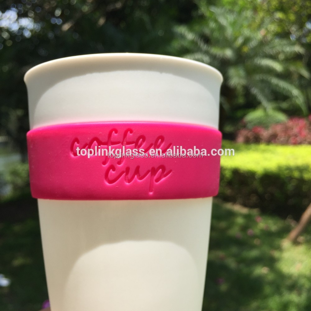 PP material keep hot coffee cup reusable style with lid and band OEM logo