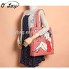 2018 Cheap Ladies Cotton Shopping Betty style tote Bags with Red Striped Pattern Women Shoulder Bags