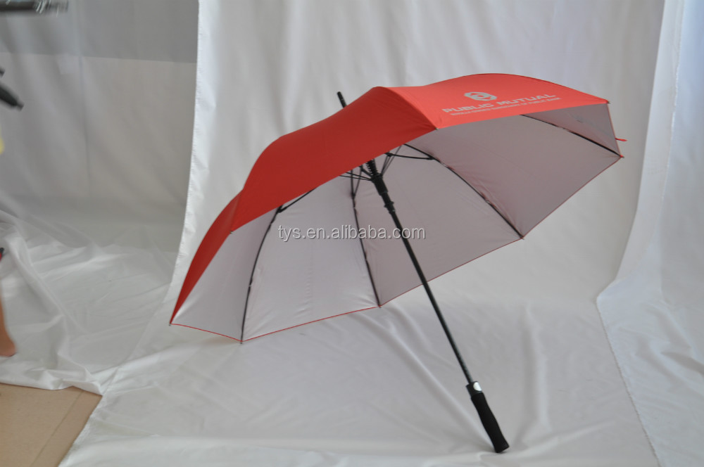Best selling promotional auto open UV golf umbrella,high quality automatic silver coating golf umbrella