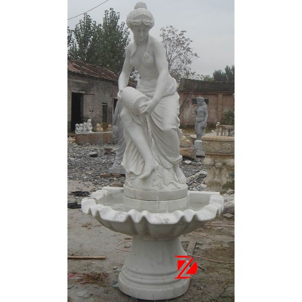 white marble naked lady fountain