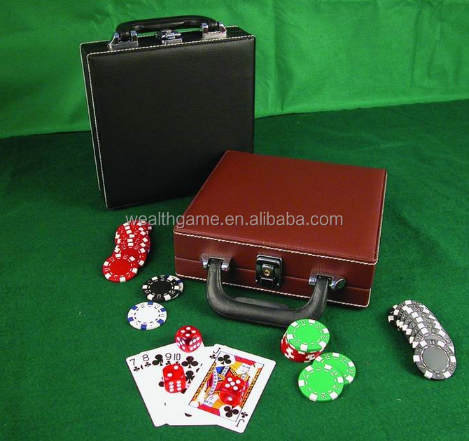 100 pcs Poker Chip Set no caso de couro
