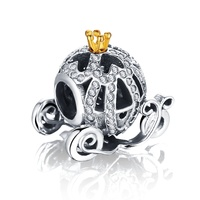 New 100% 925 Sterling Silver Openwork Pumpkin Car Charm Fit Bracelet with 14K Gold Crown Jewelry Making PDMB0212