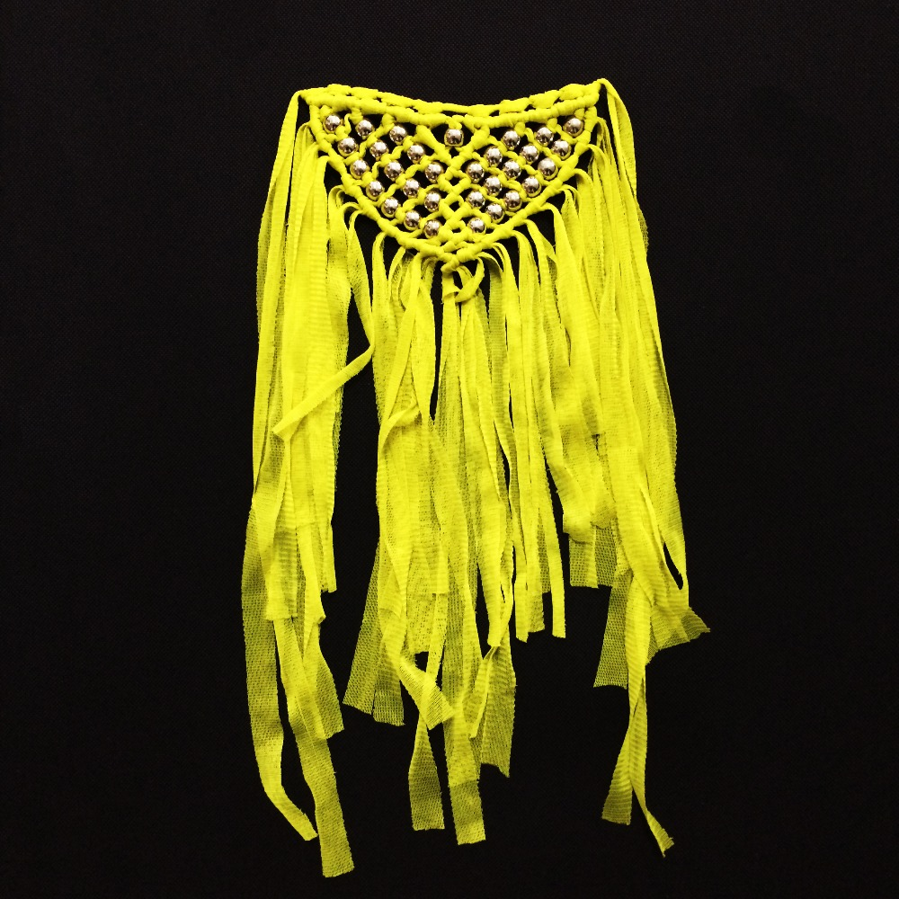 unique yellow neck trim collars for party clothes tassel pendant polyester appliques for clothes decoration