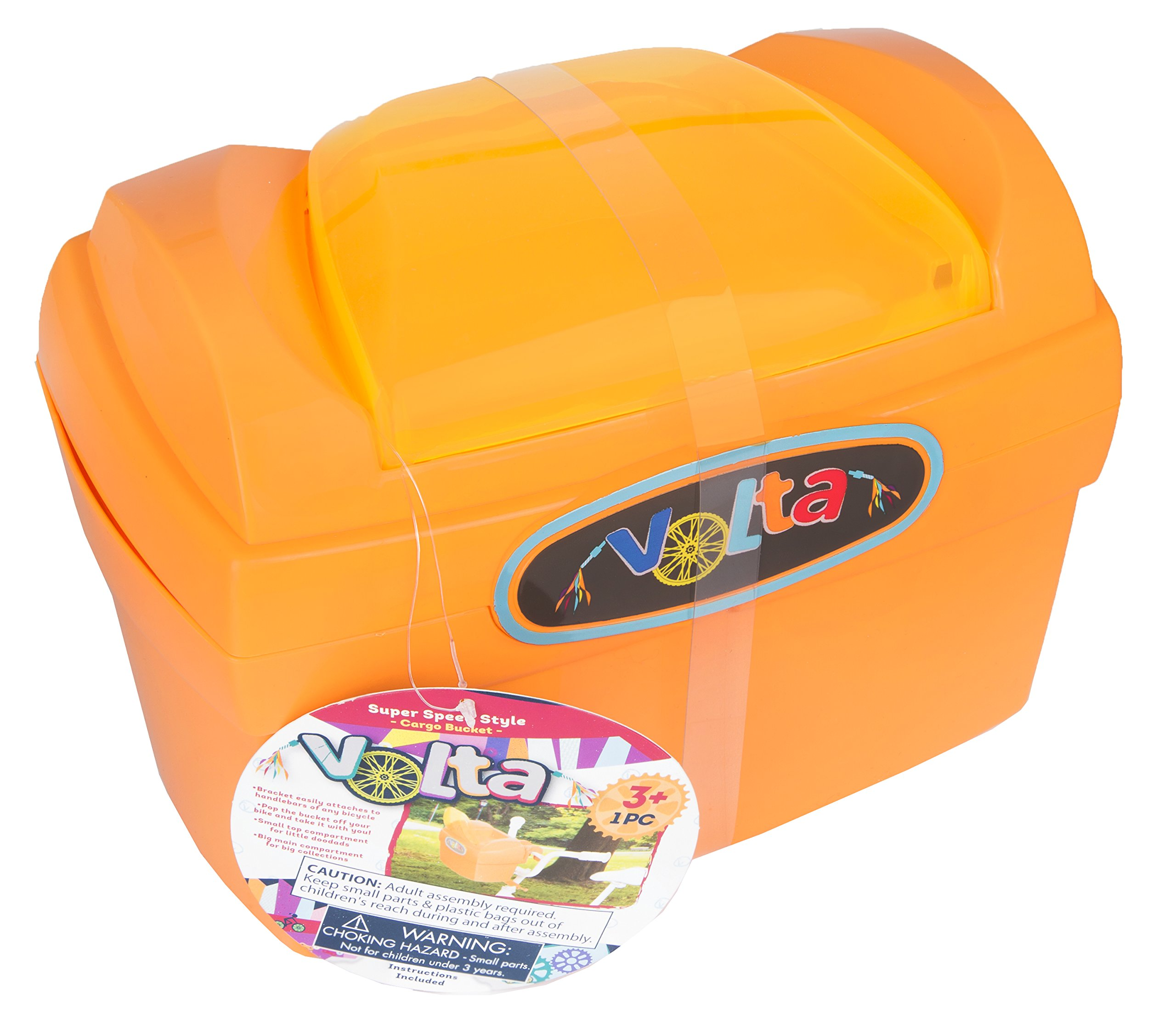 Volta Super Speed Style Cargo Bucket - Features Two Compartments - Easily Attaches to Handlebars and Comes On and Off - Compatible with Nearly All Bikes - Orange