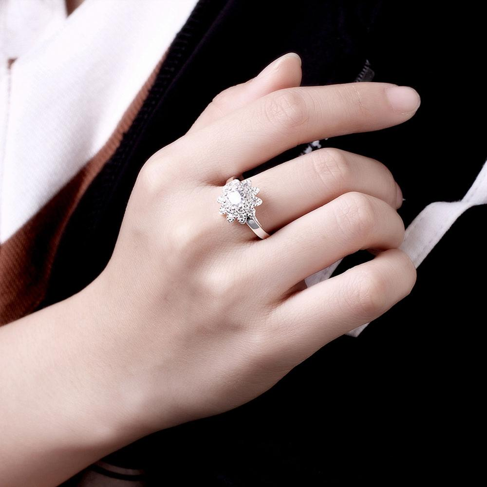 925 Sterling Silver Rings White Sunflower Crystal Birthstone ...