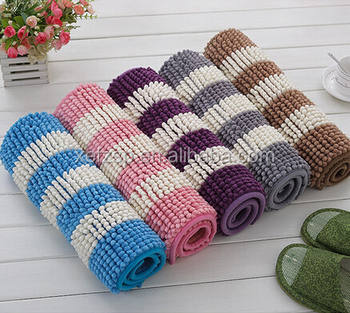 Absorbent Microfiber Chenille Bath Mat Without Rubber Backing
