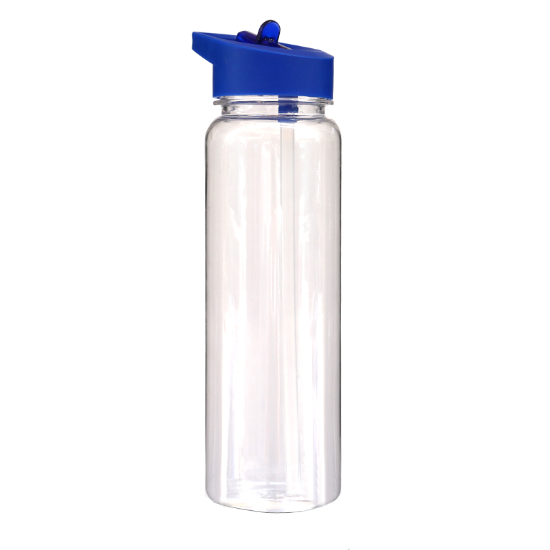 Clear water bottles 700ML plastic flip top lids sports straw bottle with handle food grade