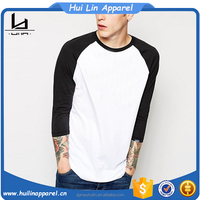 men 3/4 sleeve blank cotton baseball raglan t shirt wholesale