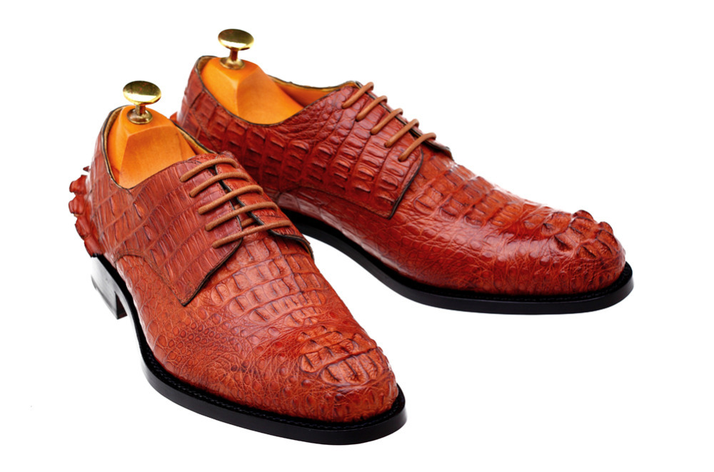 2015 New Men Leather Shoes all season Men office/dress Flat Leather Oxford Goodyearwelted handmade Men Shoes Alligator upper