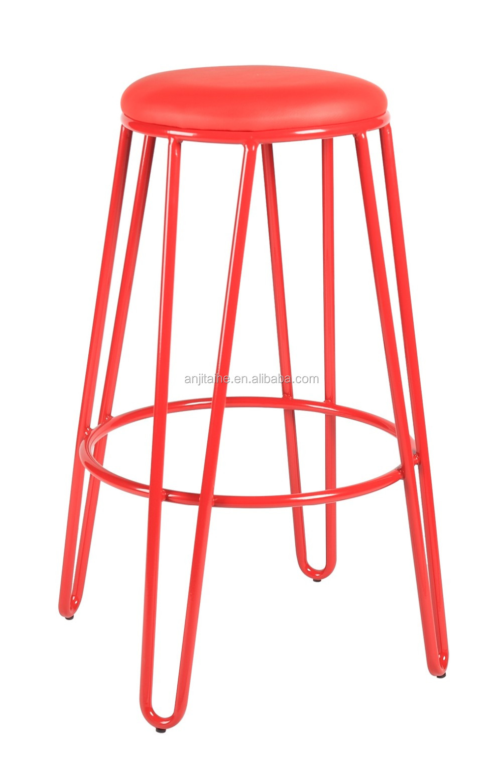 Hot Sell Wood Stool With Metal Legs Bar Stool Pu Seat