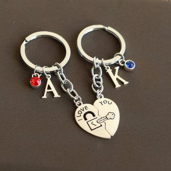 ae3cb75c67 I LOVE YOU keychain heart keyring lock and key keychains boy friend girl  friend Key ring