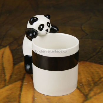 black and white ceramic embossed 3D panda coffee mug