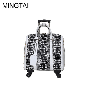 Vintage 4 wheels customized travel rolling luggage bags lightweight fancy square trolley bag