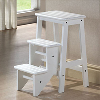 2016 new beech wood 3 tier Folding Step Stool with groove to avoid slip ladder step stool