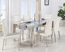 Mirrored Stainless Steel Luxury Dinning Room Table And Chair Set