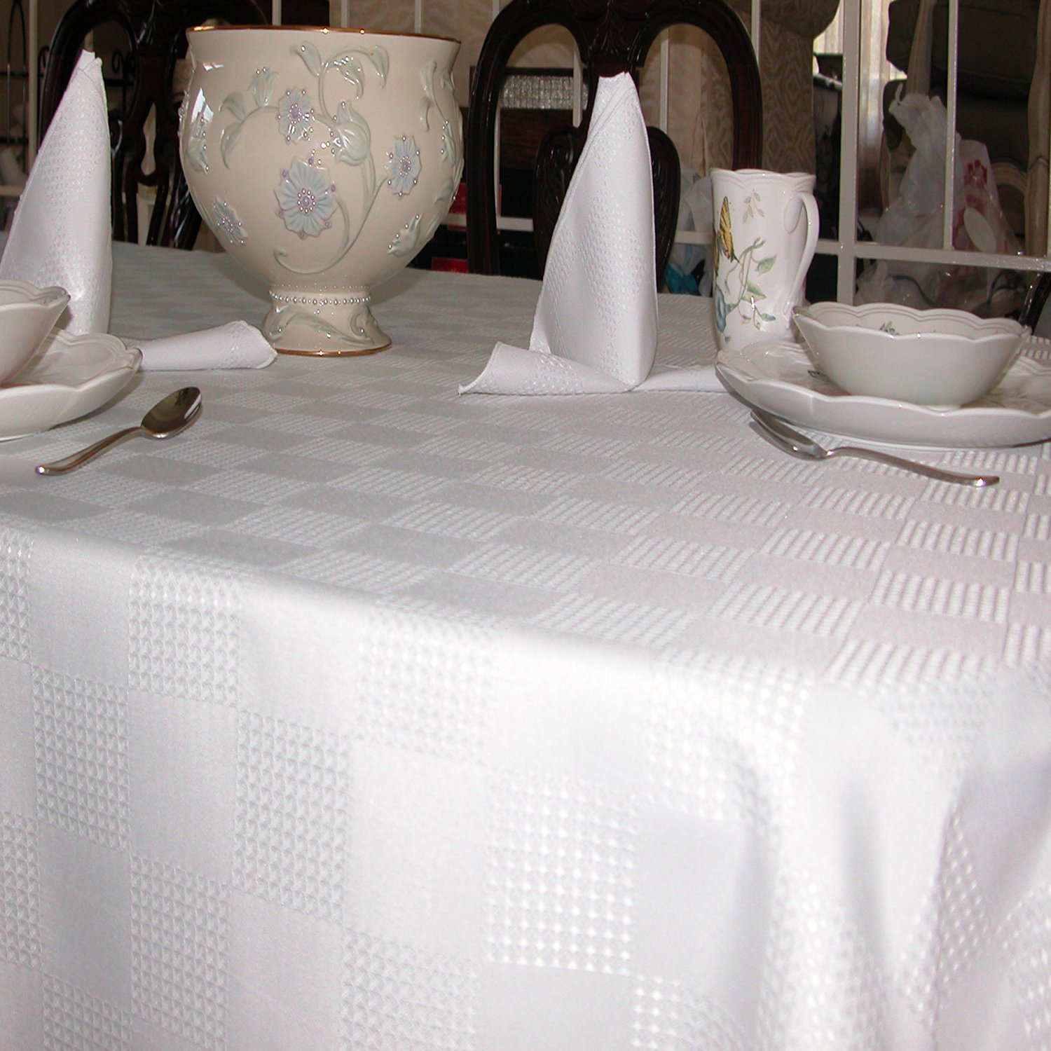 Tablecloths Linen, Special Dobby Weave Fabric, White, 100% Polyester, Machine Washable (60x144 Inches Rectangular)