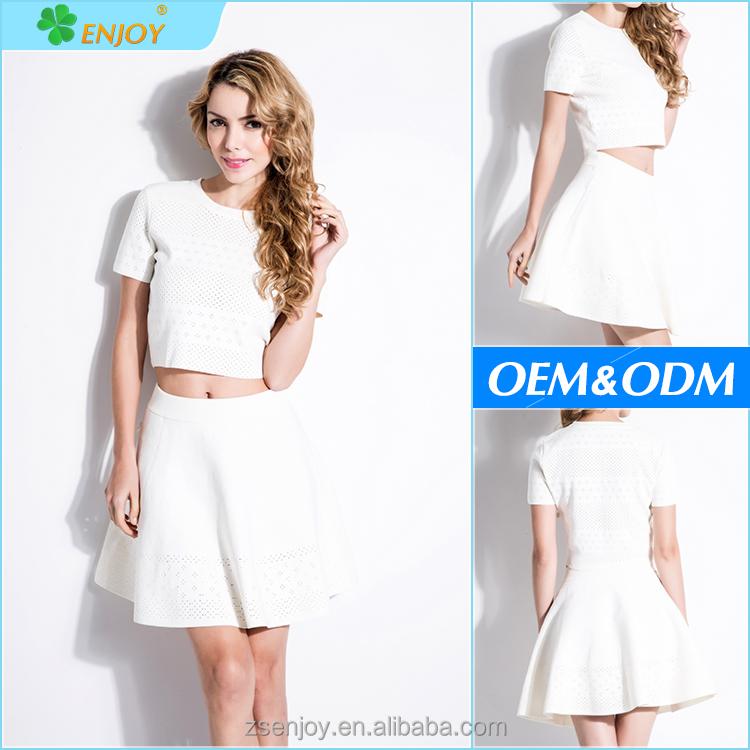 f239924f4269d0b Новые моды для женщин, одежда из двух частей трикотажные белый бинты платье  для оптовой продажи