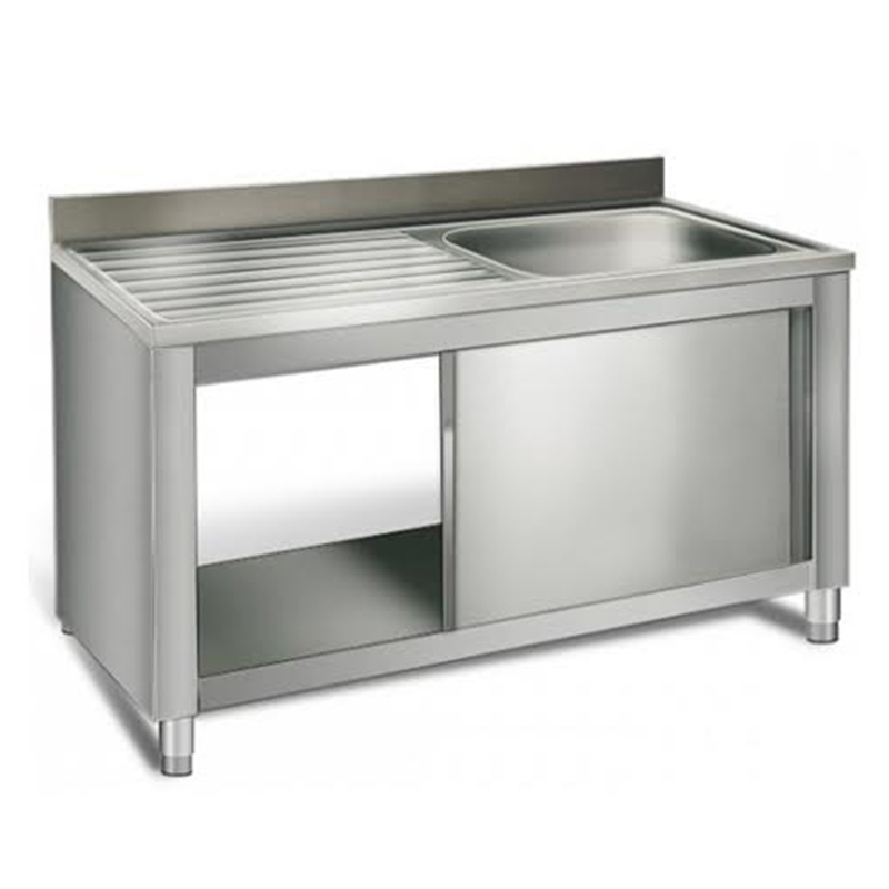 Used Metal Kitchen Cabinets: Sliding Door Sink Base Industrial Commercial Kitchen