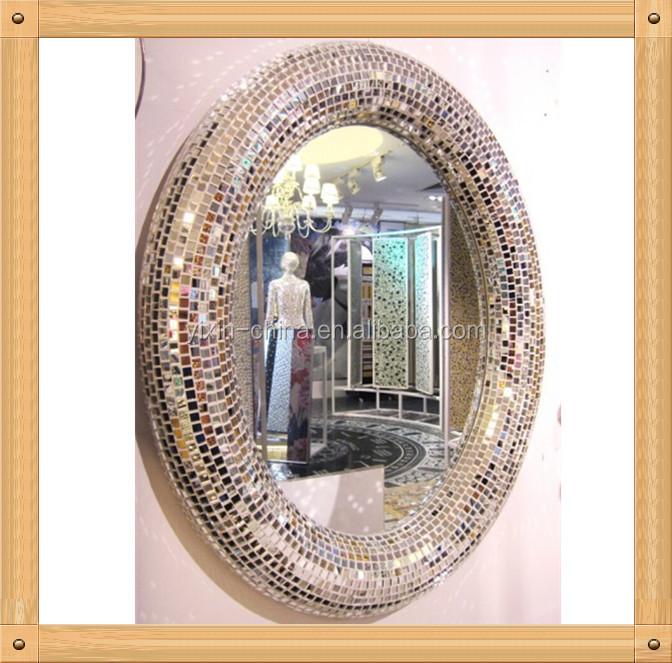 Specchio Tondo Da Parete.40 80cm Mano In Argento Colore Specchio Tondo Da Parete Decorativo