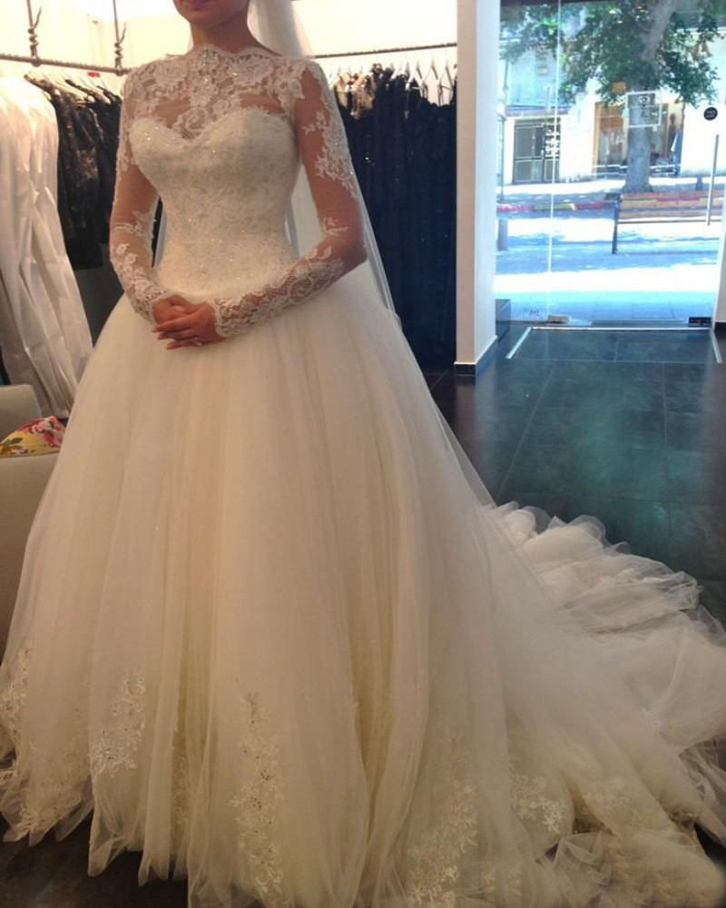 Vestido de noiva 2016 Wedding dresses Tube top Luxurious Long sleeve Lace Wedding dress 2016 Wedding