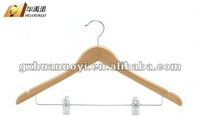 Wooden Suit Hanger with two plastic clips / adults hanger/ wooden hangers suppliers