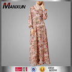 Sexy Dress Muslim Floral Printing Abaya Long Sleeves Maxi Dress Islamic Women Clothing For Wholesale