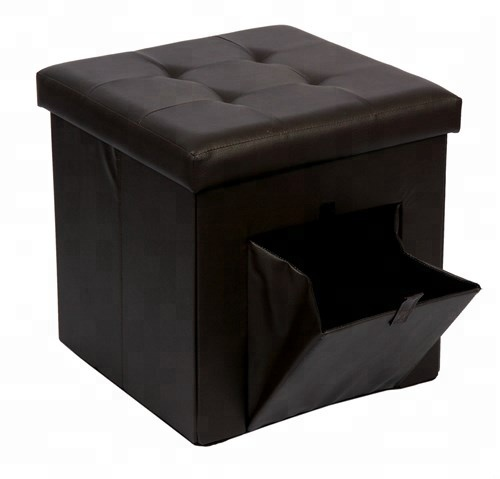 Bailey portable leather folding pouf storage footrest with 4 dots