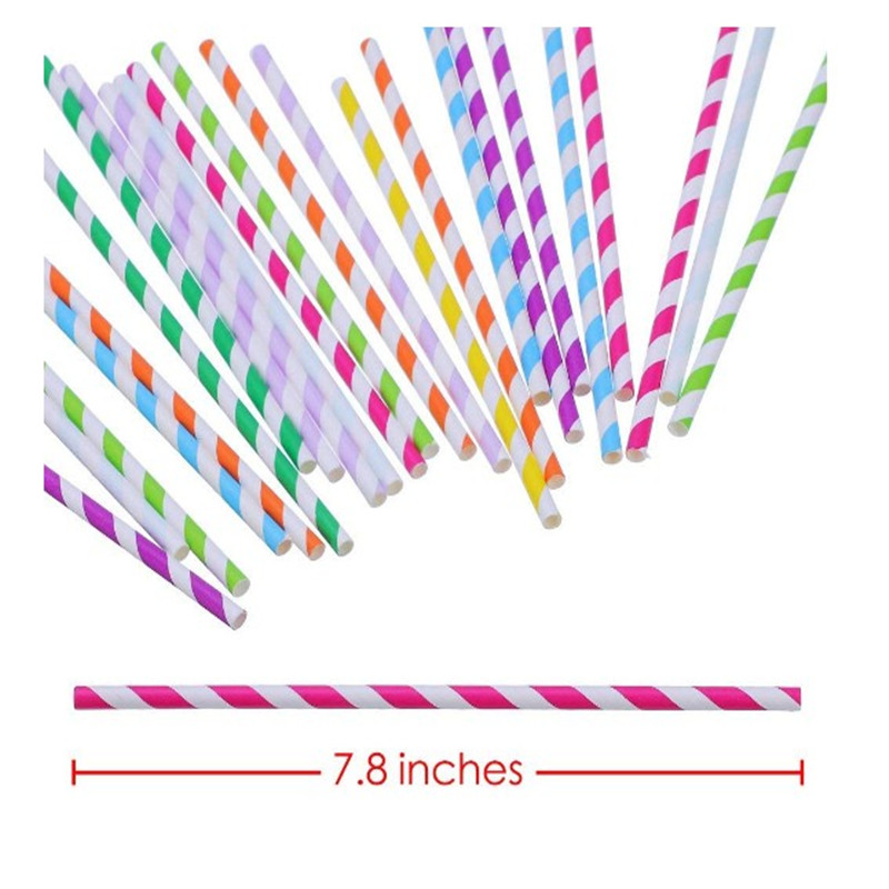 Oempromo wholesale flexible recycled natural rainbow striped paper straws biodegradable