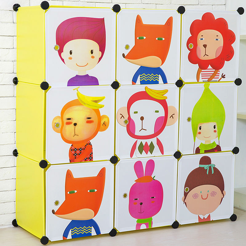 Large Capacity Portable Bedroom Wardrobe Cabinet Colorful Kids ...