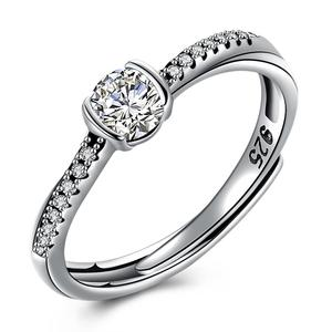 Hot Sale 925 Sterling Silver Zircon Crystal Heart Ring Women's Fashion Jewelry