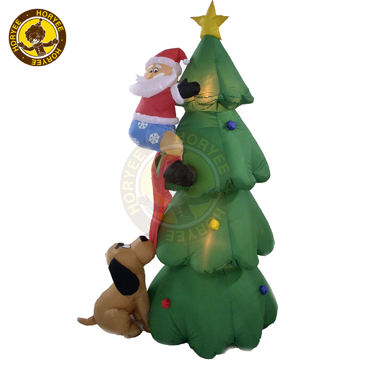 6ft Christmas Inflatable Santa Climbing Tree Decoration,